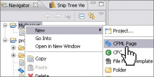 Selecting CFML page option