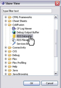 Selecting the RDS Dataview