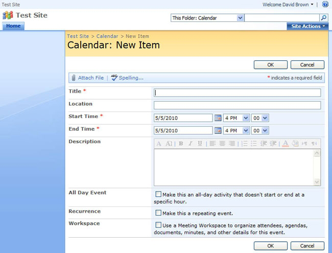 Generated page for content entry and Calendar List